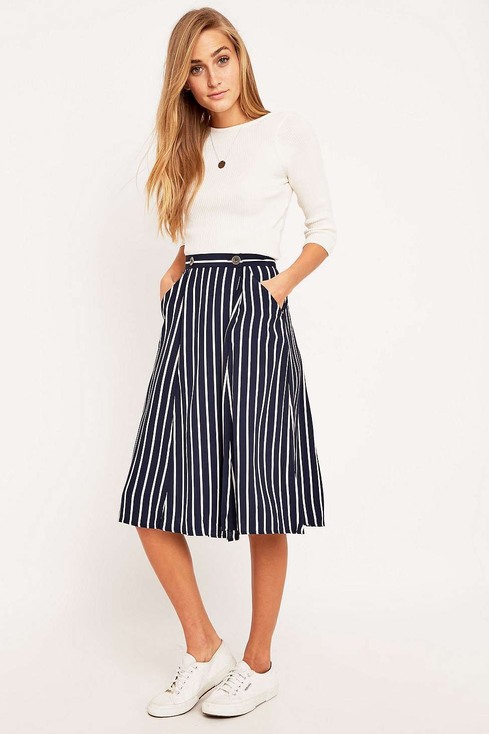 3d46e7f19d Silence + Noise Andy Structured White Striped Midi Skirt | style ...