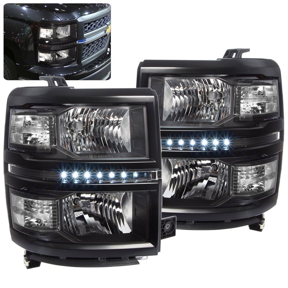 Chevy silverado 1500 2014 2015 2016 headlight black housing clear reflector led