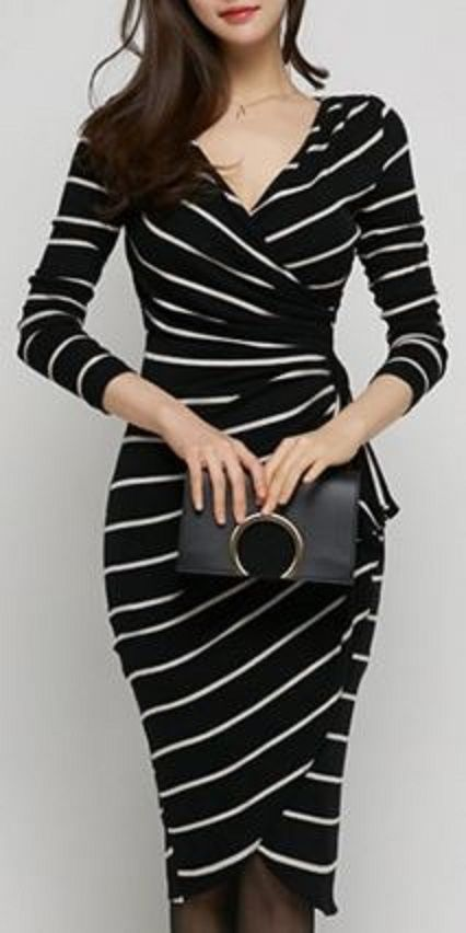 Comfy Casual Long Sleeve Work Dress Sexy Black And White Stripes V