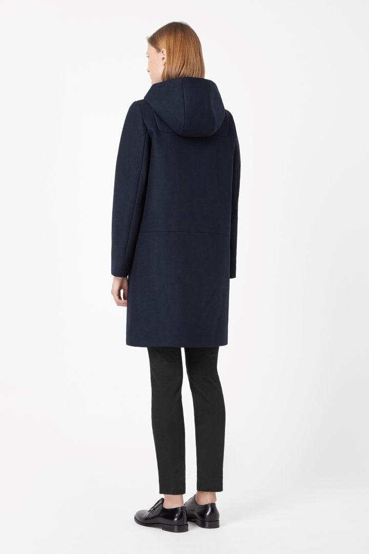 Hooded wool coat - Blue Reddish Dark - All Articles - COS US ...