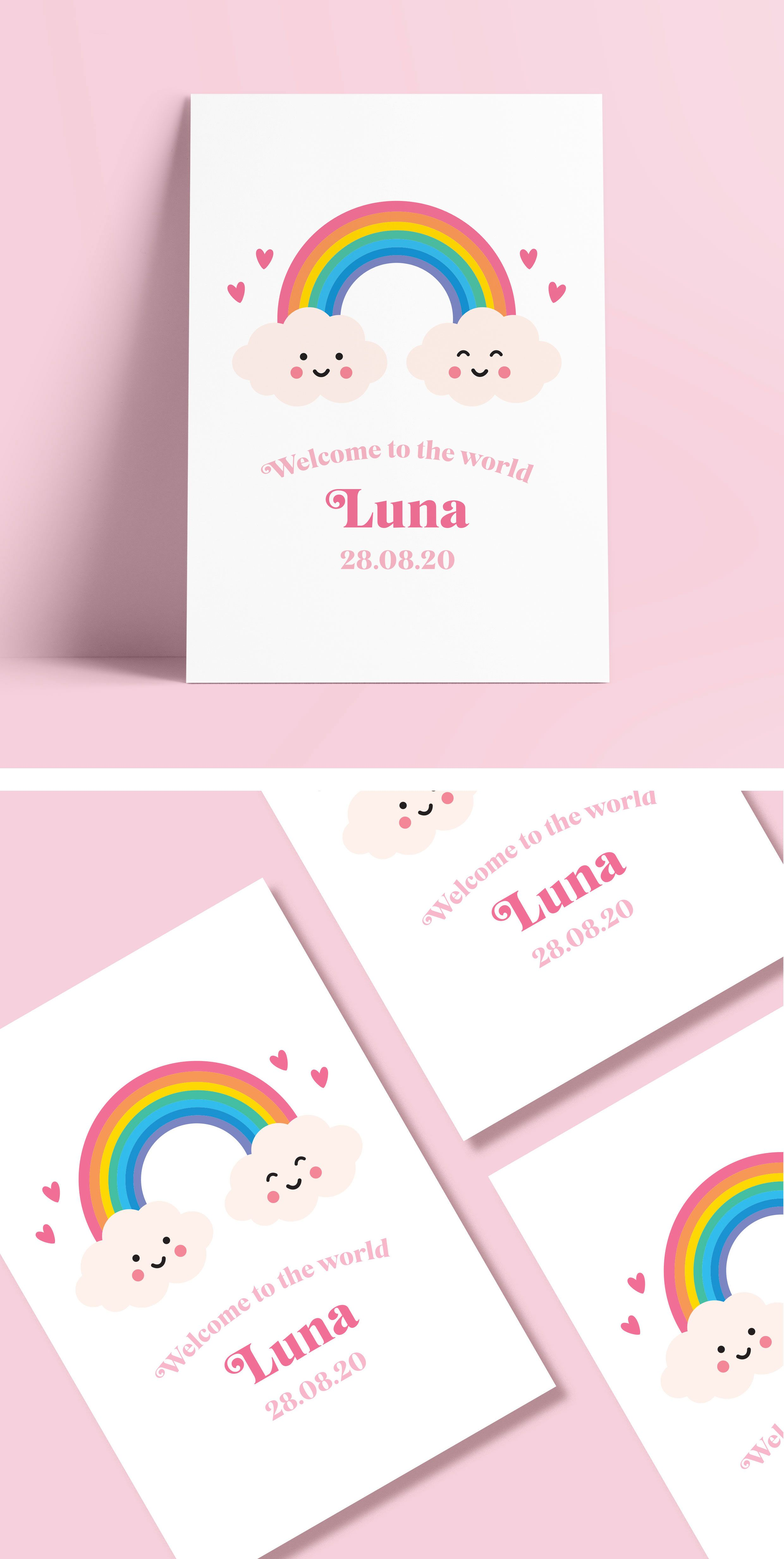 Rainbow Nursery Art, Personalised New Baby Name Print ...