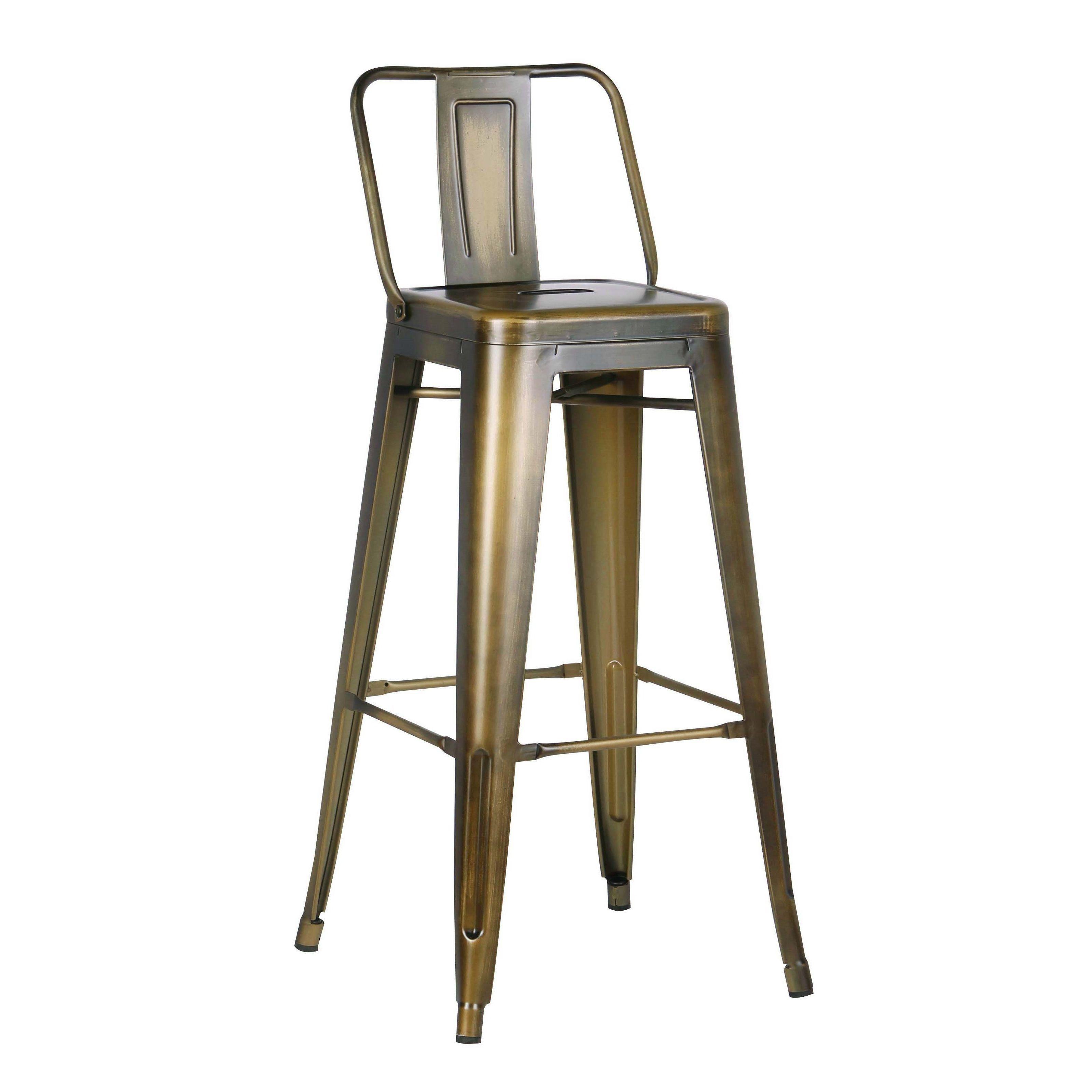 Peachy Ac Pacific Red Black Gold Distressed Metal 30 Inch Barstool Creativecarmelina Interior Chair Design Creativecarmelinacom