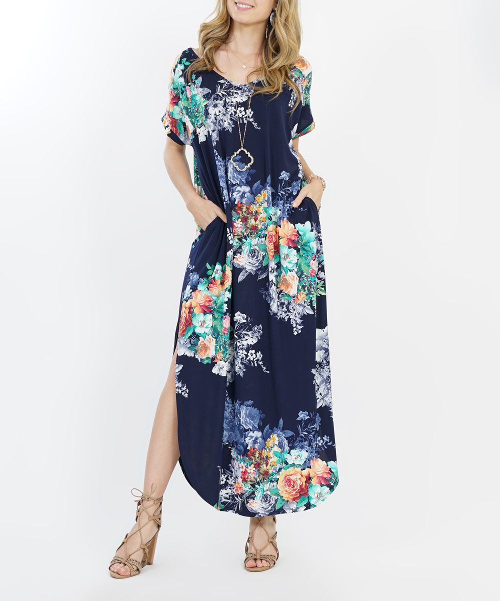 383a580935 42POPS Navy Floral Side-Slit Pocket Maxi Dress - Women | zulily ...