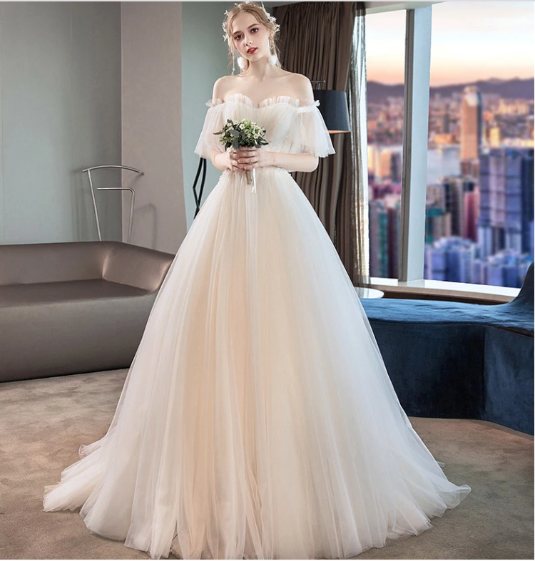Lace Wedding Dress Bride New Word Shoulder Trailing White Simple Slim Princess Super Fairy French Court From Citylady Ball Gowns Wedding Princess Wedding Dresses Ivory Wedding Dress