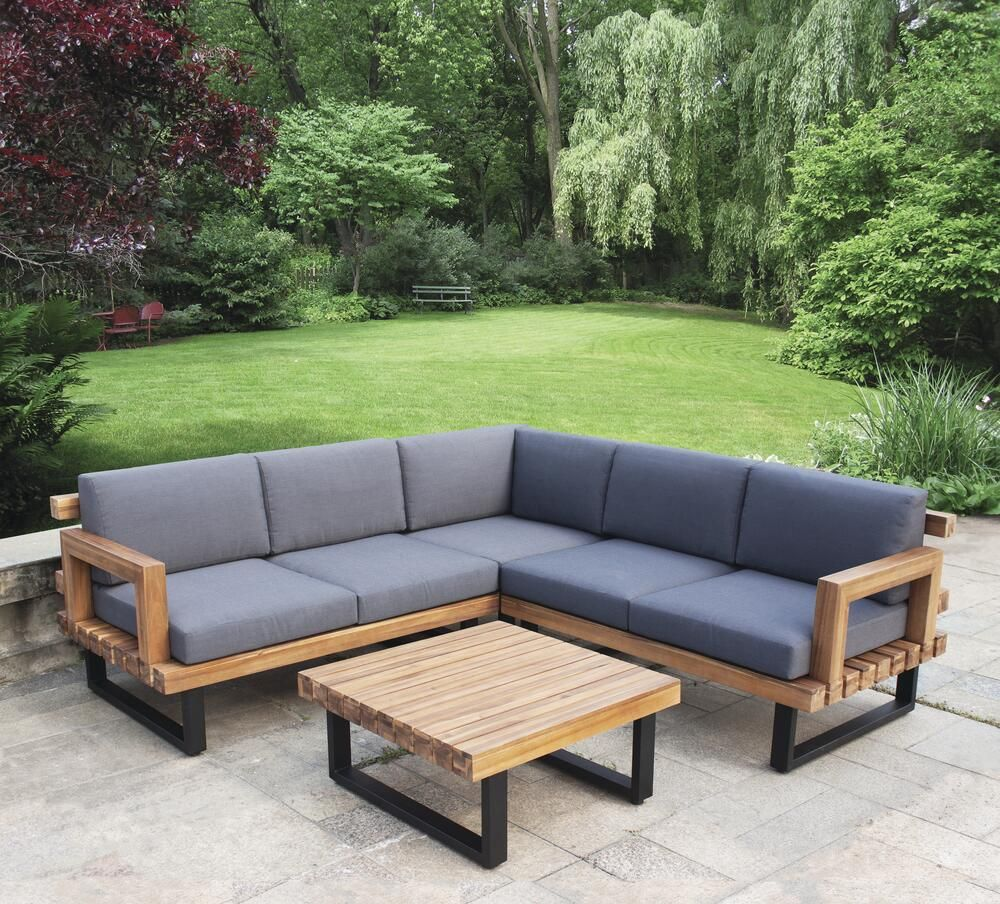 Backyard Creations Sydney Blue Sectional Seating Patio Set At Menards In 2021 Patio Furniture Collection Patio Set Backyard Creations