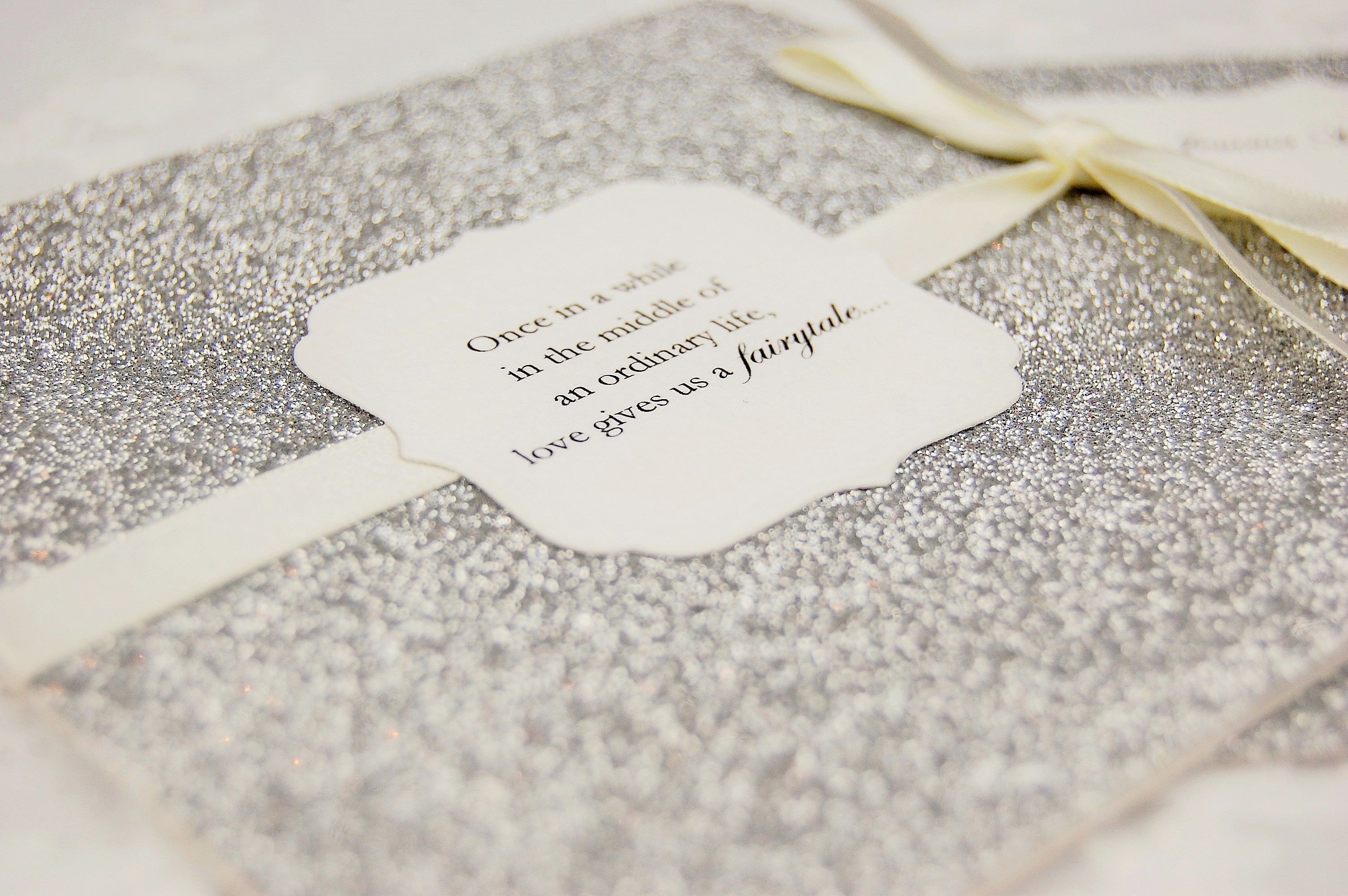 HipTwist Wedding Stationery Paso Collection - glitter silver ivory ...