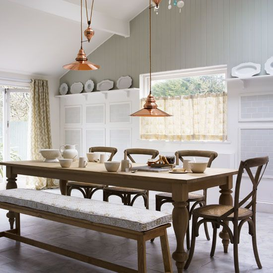 Dining Room , Captivating Farmhouse Style Dining Room : Open Farmhouse  Style Dining Room With Broze Pendant Lighting Over Table And Side Chairs  And Bench ...