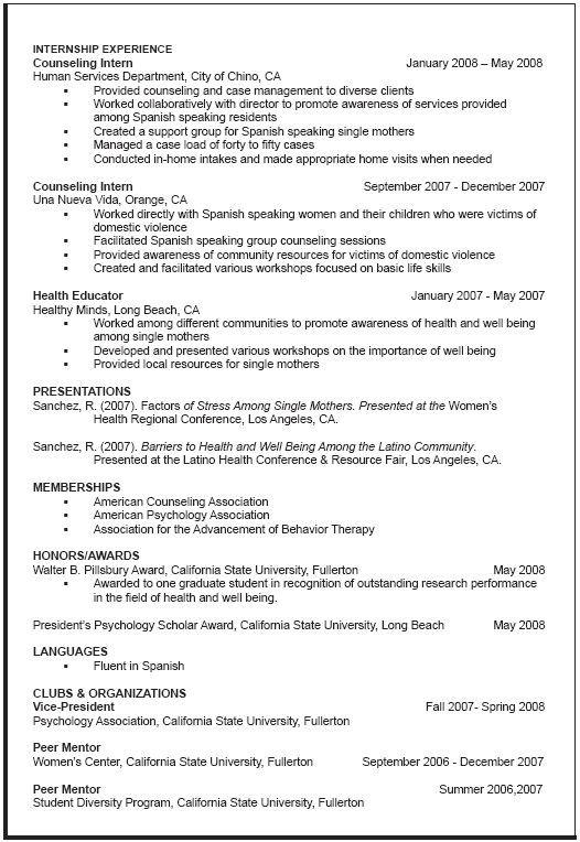 Resume Template For Graduate School - Resume Sample