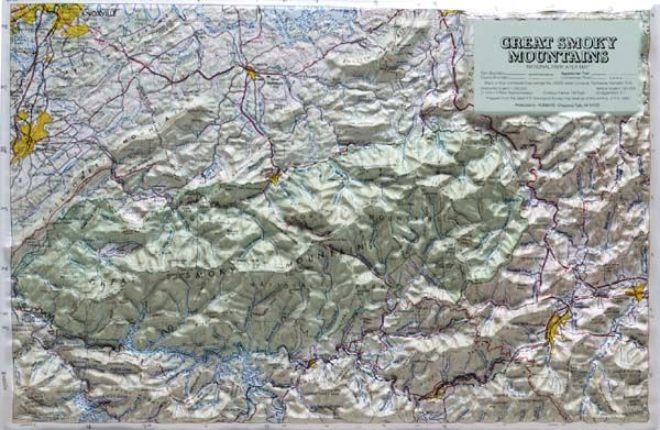 smoky mountain topographic map Topographic Map Of The Great Smokey Mountains Relief Map Great