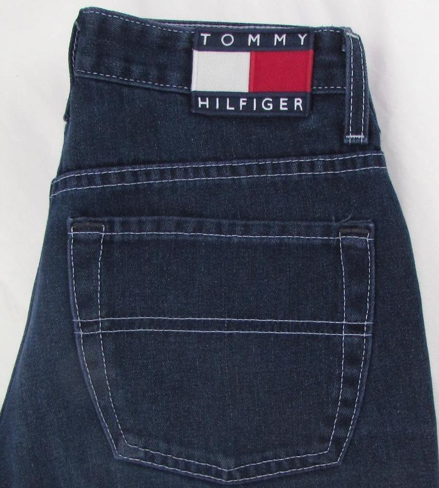 fb8ff992 VTG Tommy Hilfiger Hipster Flare Jeans Button Fly Mid Rise Flag Logo sz 27  X 31 #TommyHilfiger #Flare