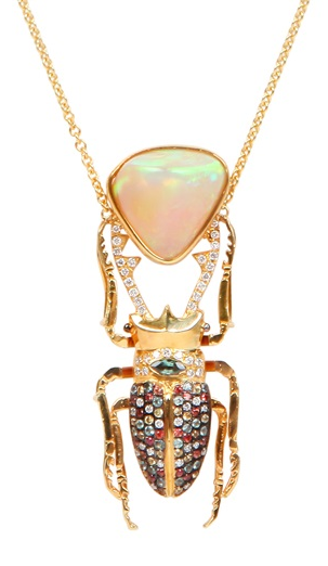 daniela villegas beetle necklace; dung beetle with opal turd