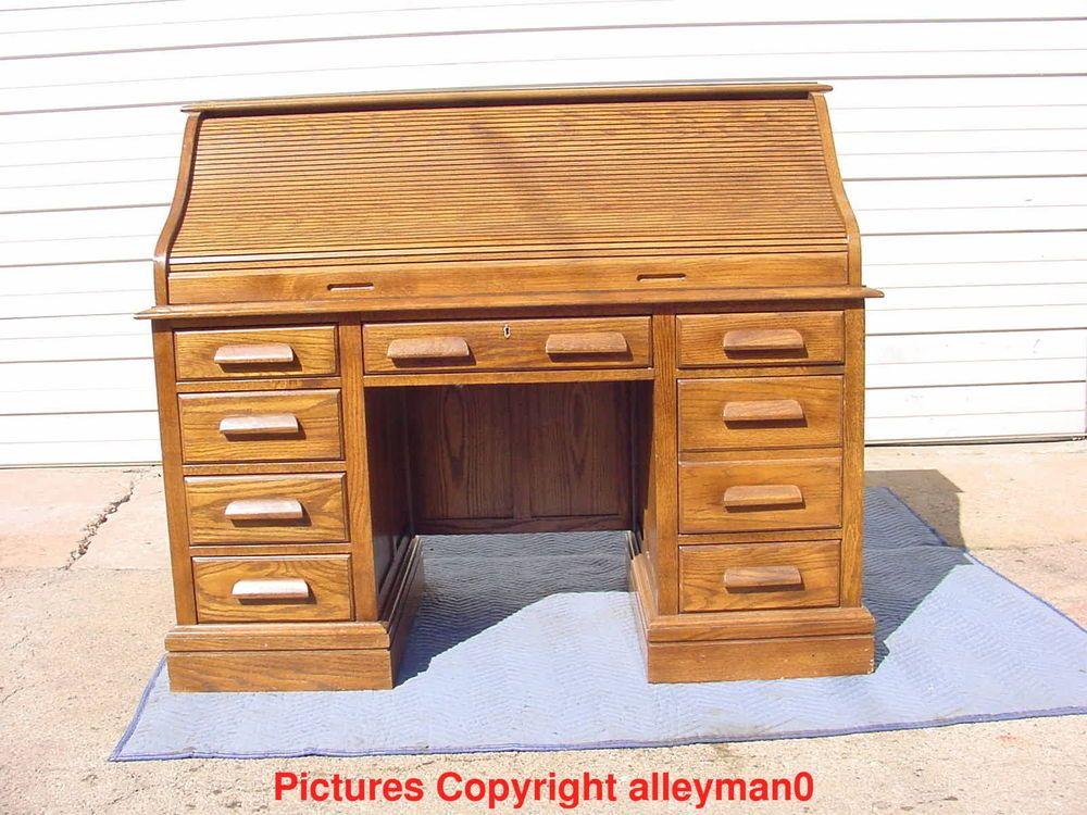 Jasper Cabinet Co. Oak Roll Top Pedestal Desk 8 Drawers ...