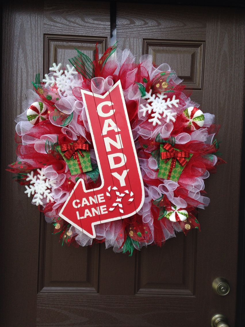 Candy Cane Lane Decorations Candy Cane Lane Deco Mesh Wreath Find Me On Facebook Fargo Door