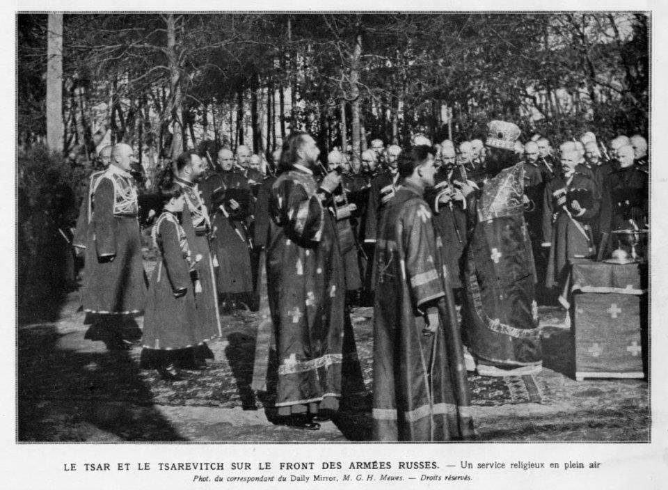 Tsar Nikolai II and Tsarevich Alexei in Cossack uniforms during a religious ceremony during WWI.