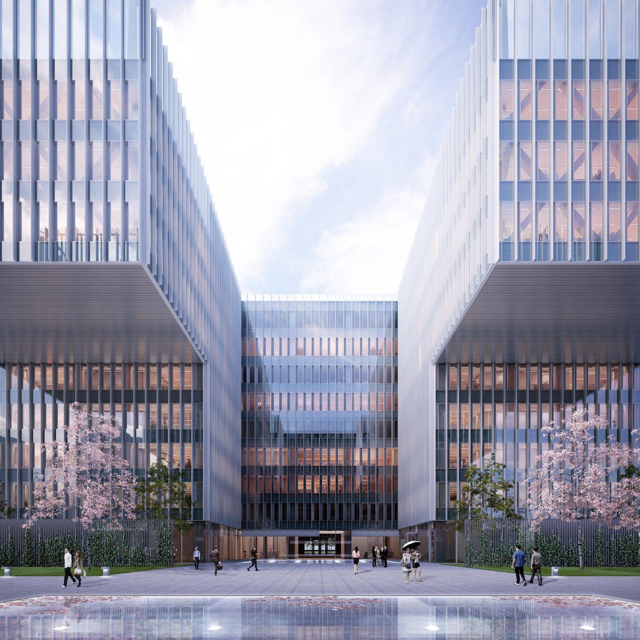 Shl mobile office facade pinterest edificios de for Arquitectura de oficinas modernas