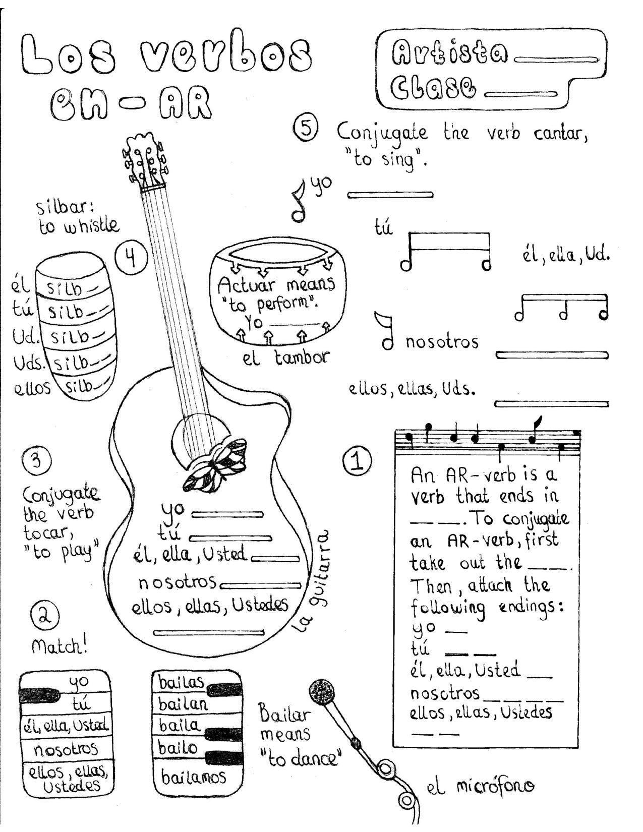 Spanish Ar Verb Conjugation Worksheet Musically Themed Verb Conjugation Spanish Worksheets Verb
