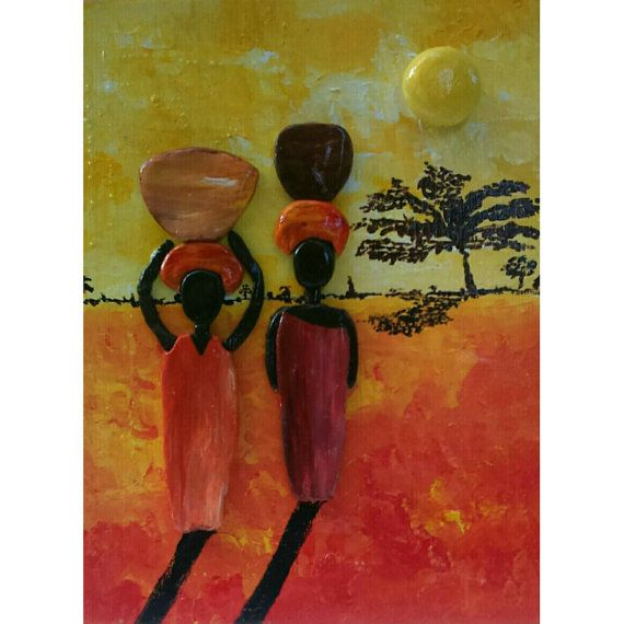 Home Decorative Item Painting African Sunrise Handpainted Stones And Clay Pebble Art Stone Art .