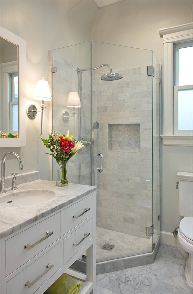 Lovely Calming White Marble Small Bathroom Design
