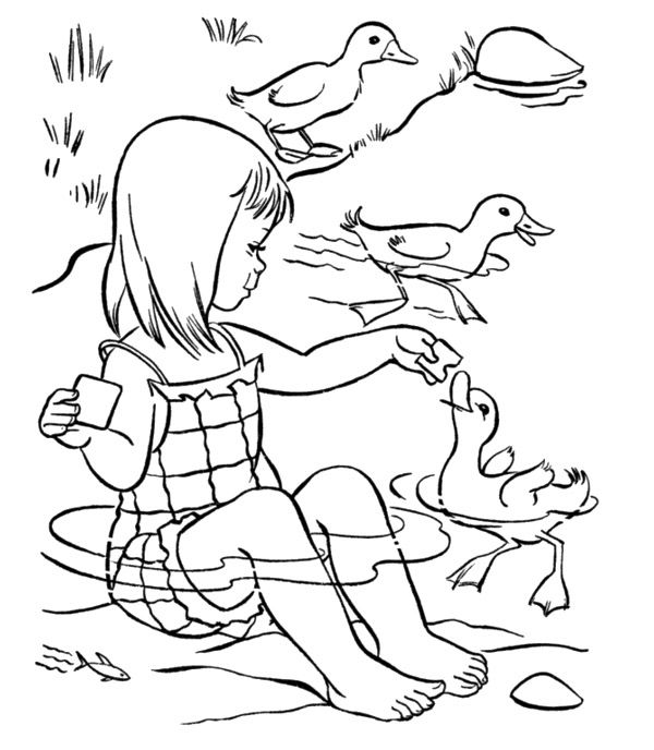 Feeding The Ducks Summer Coloring Pages | printable | Pinterest