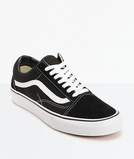 aad977e820e47 Vans Old Skool Black   White Skate Shoes