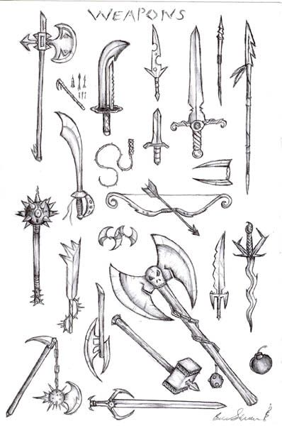 Weapons sketch found online   weapon references   Pinterest ...