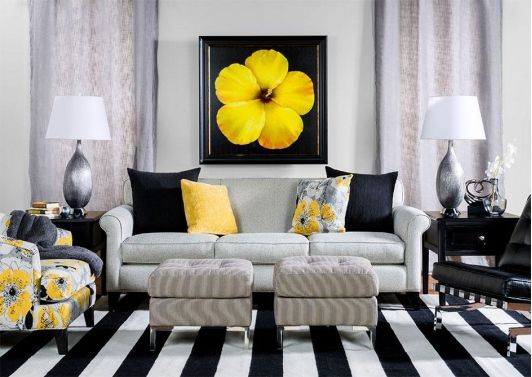 Contemporary living room with black, white and yellow ...