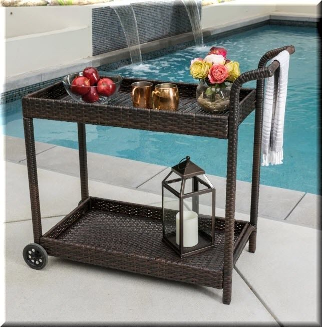 Patio Serving Cart Resin Wicker Brown Wheeled Storage