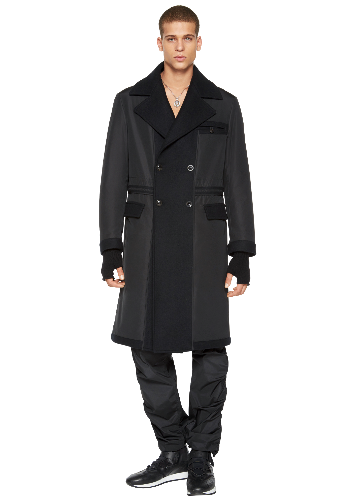 Contrast Panel Double-Breasted Coat - A008 Jackets & Coats