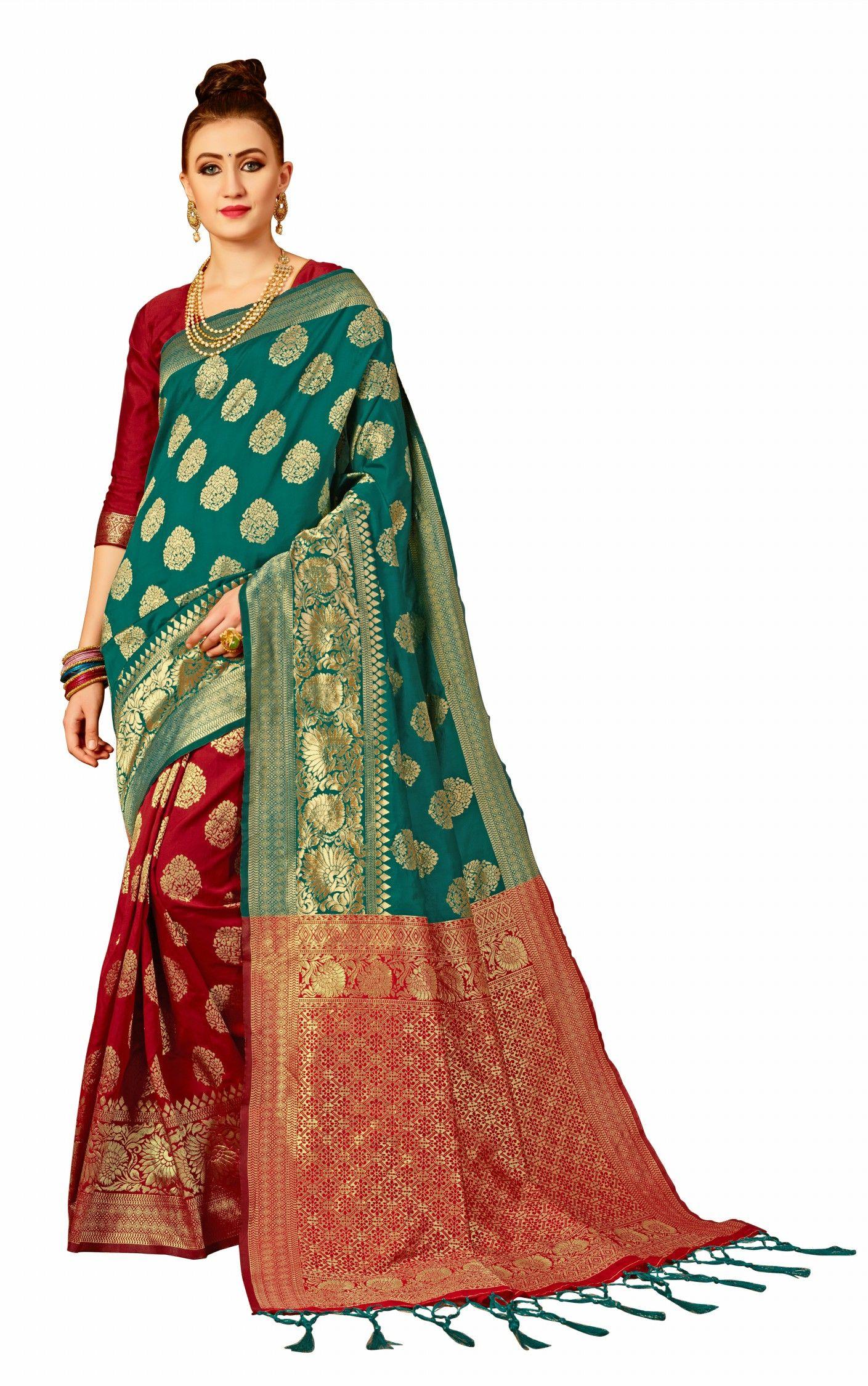 7513469ed7345 Red Green Banarasi silk saree with blouse piece – indian saree ...