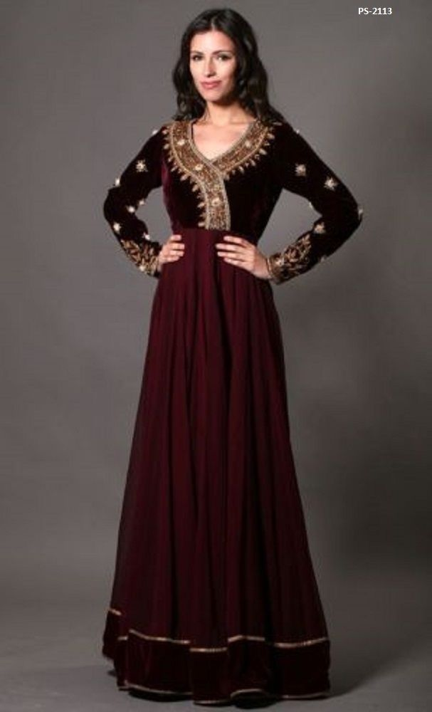 7484f09e559 Plus Size Available Maroon Velvet Long Dress Traditional Wedding Gown PS-2113   EthnicDresses  SalwarKameez