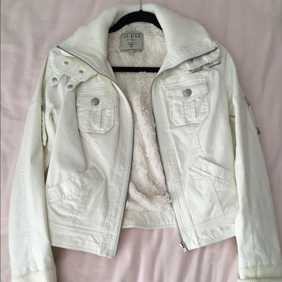 NEW GUESS JACKET - SIZE SMALL New Guess Jacket - very soft - fleece lined jacket. Ivory - size small. Guess Jackets & Coats