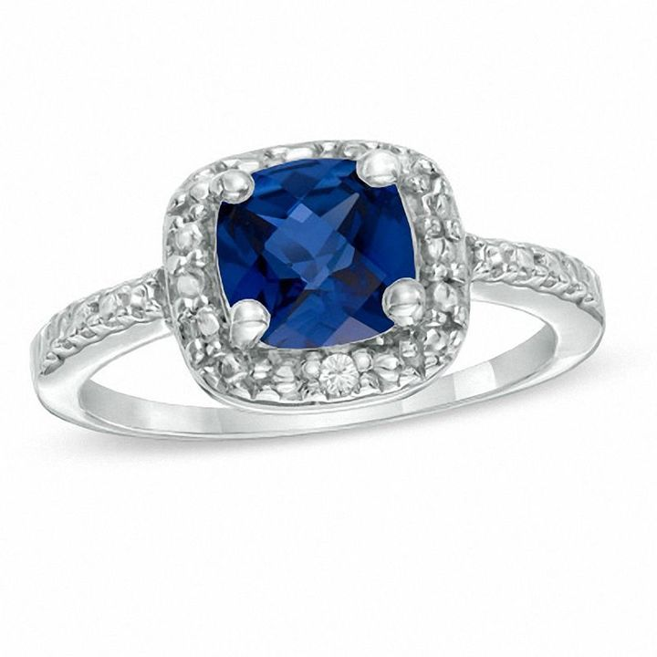 Zales Princess-Cut Lab-Created Blue Sapphire Band in Sterling Silver IeVSvW