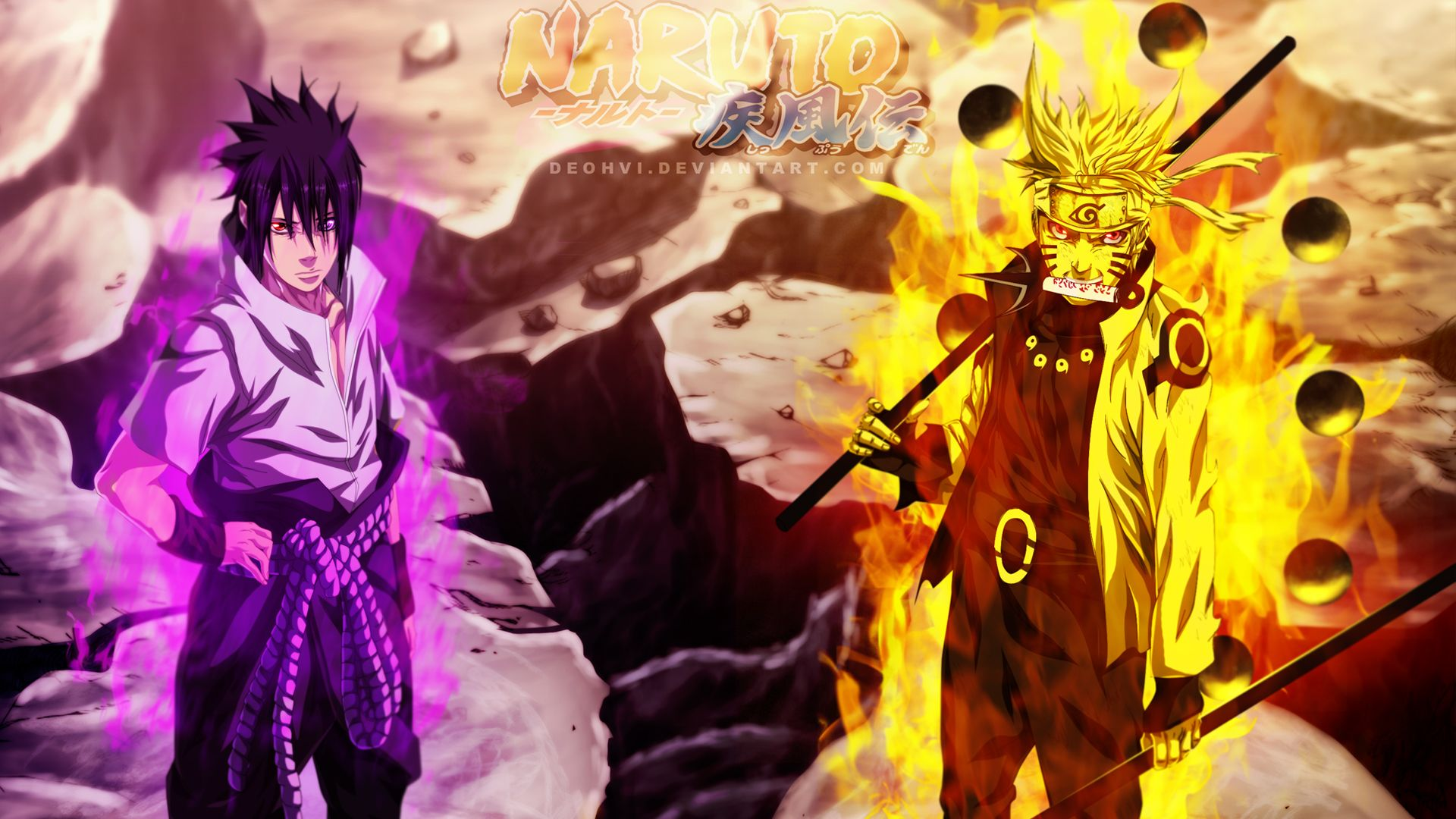 Sasuke and Naruto Sage mode