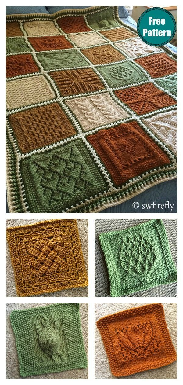 Dishcloth Sampler Afghan Blanket Free Knitting Pattern #knit