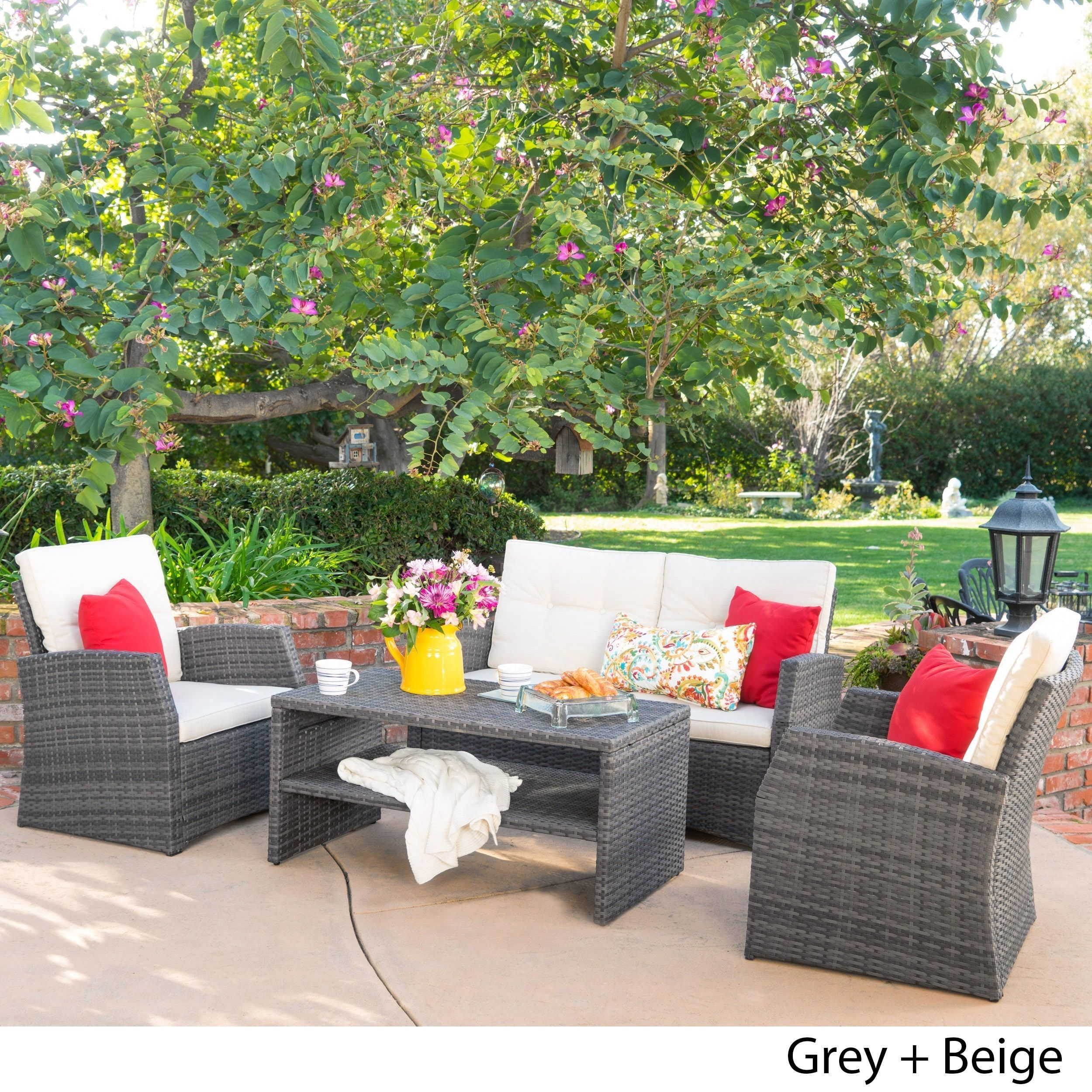 Sanger Outdoor 4 piece Wicker Seating Set by Christopher Knight