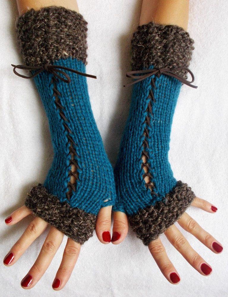Hand Knit Fingerless Gloves Corset Arm Warmers in Dark ...