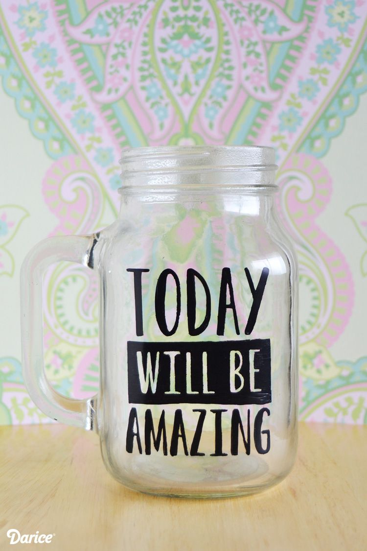Quotes Jar Diy Mason Jar Stenciled Quote Mug  Darice  Jars Masons And Quotes