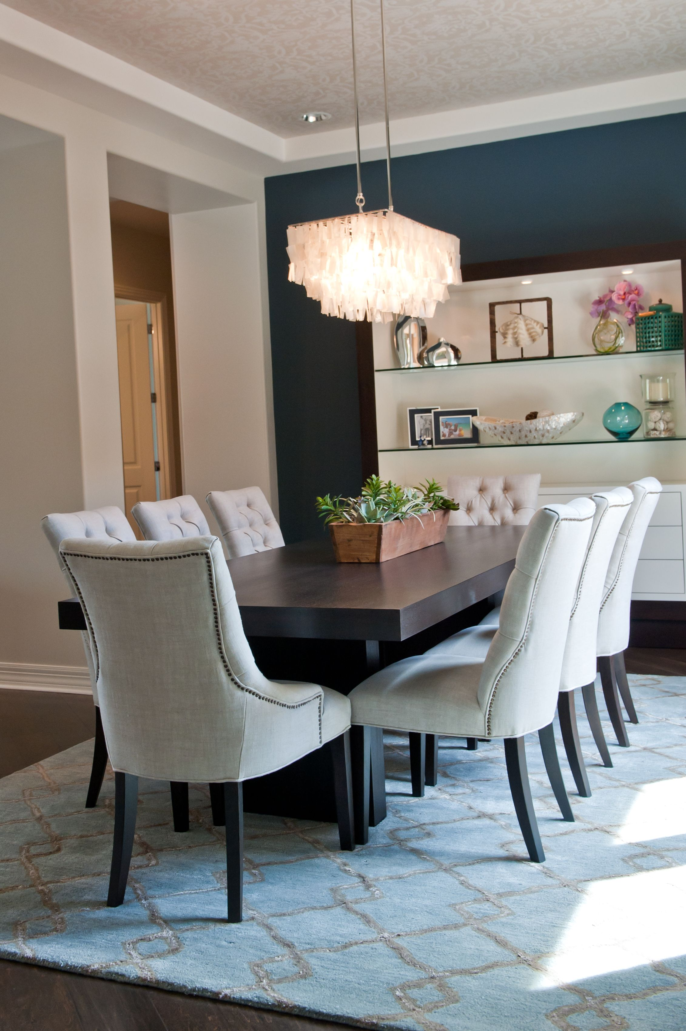 Navy blue white and black dining room red egg design for Navy blue dining room ideas
