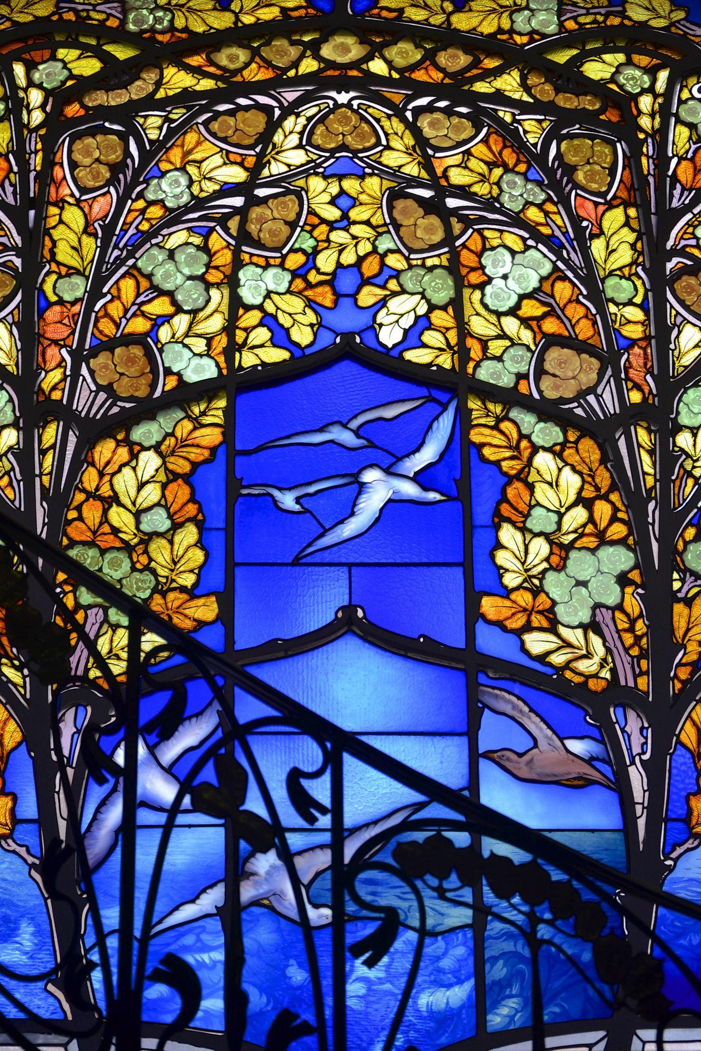 Maison Bergeret Vitrail Roses Et Mouettes Art Nouveau Art