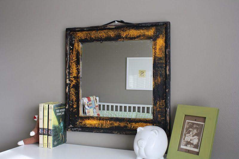 Distressed mirror frame (love) #home #decor