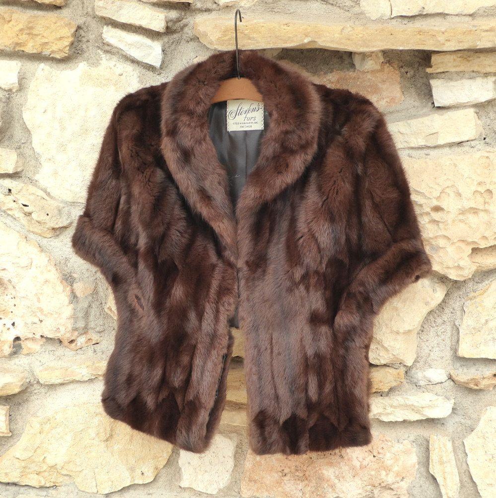 Elegant Mink Cape Shawl - Dark Brown Soft Mink by Steven's Furs, Wedding…