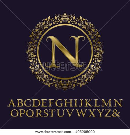 Tendrils gold letters with N initial monogram. Baroque style font for logo design. Isolated english vintage alphabet.