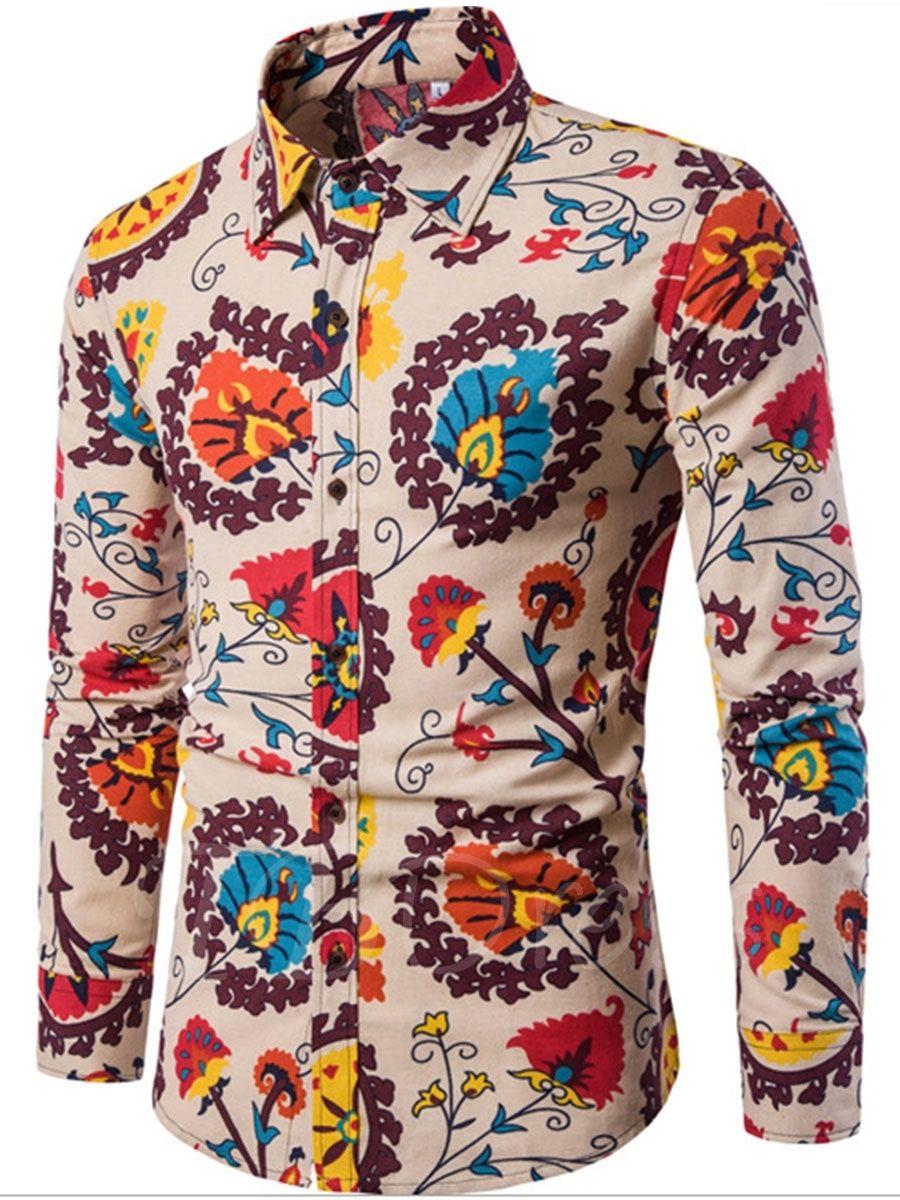 66b1ef53c169 Lapel Patchwork Ethnic Linen Slim Fit Printed Vogue Men s Luxury Shirt -  m.tbdress.com