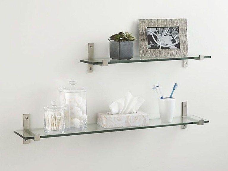 glass floating shelves in bathroom