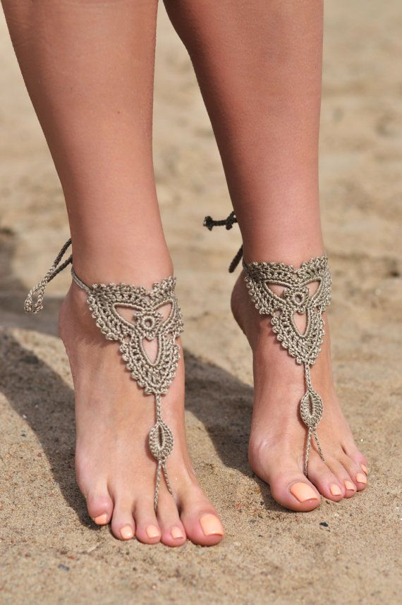 Crochet Tan Barefoot Sandals Shoes Foot Jewelry Bridesmaid Accessory