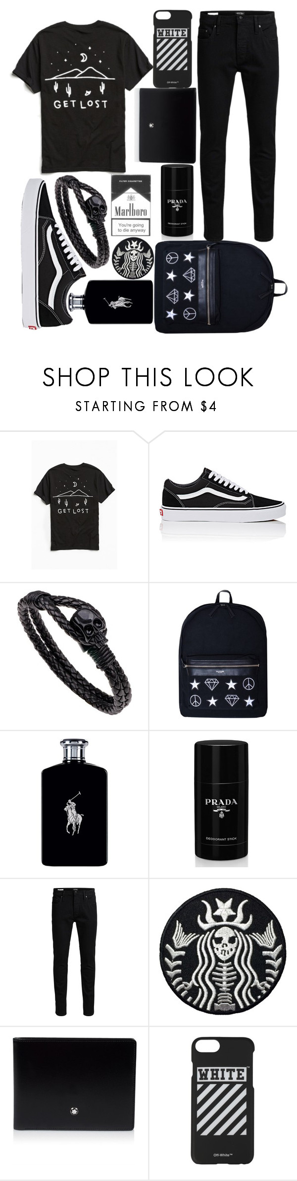 """Untitled #310"" by terminally-pretty-hippy on Polyvore featuring MNKR, Vans, Kloters Milano, Ralph Lauren, Prada, Jack & Jones, Montblanc, Off-White, men's fashion and menswear"