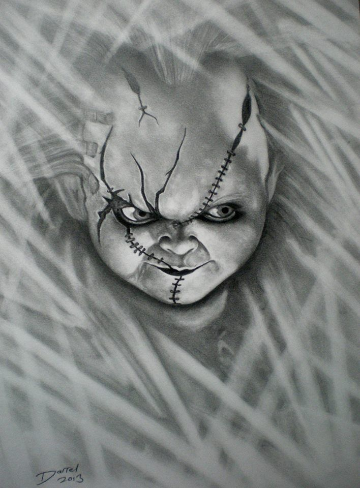 chucky darrel bevan graphite portrait artist pinterest horror and movie. Black Bedroom Furniture Sets. Home Design Ideas