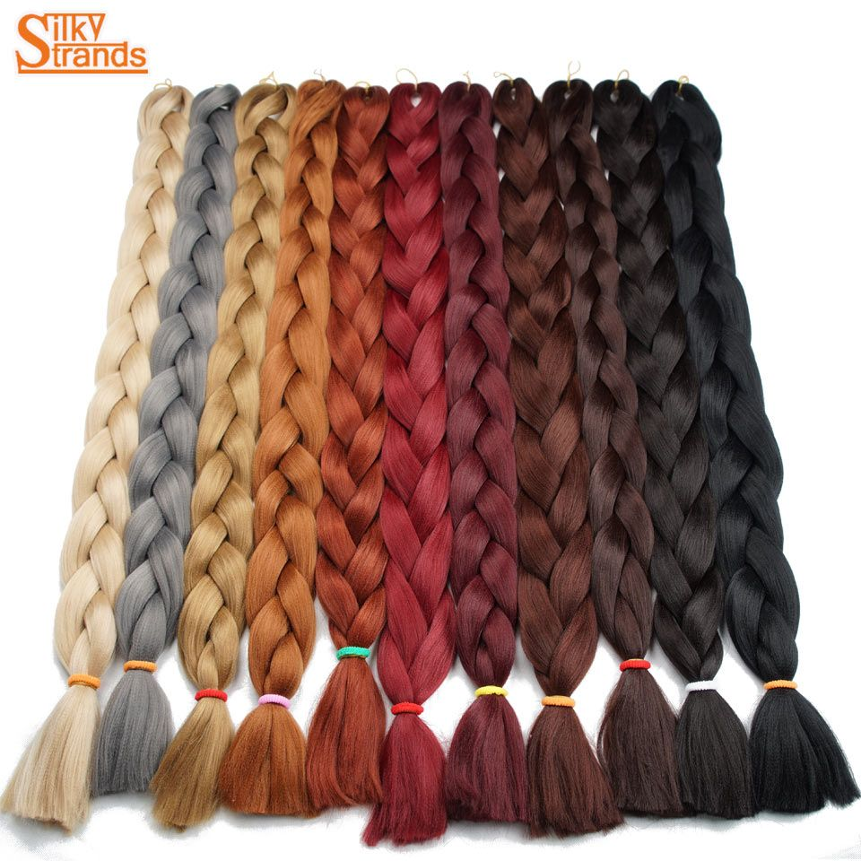 Silky Strands Gray Purple Pink Blonde Synthetic Braiding Hair Colors