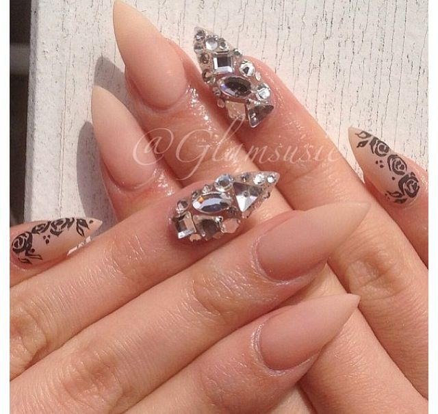 Nude and gem mani | Nails | Pinterest | Short stiletto nails, Work ...