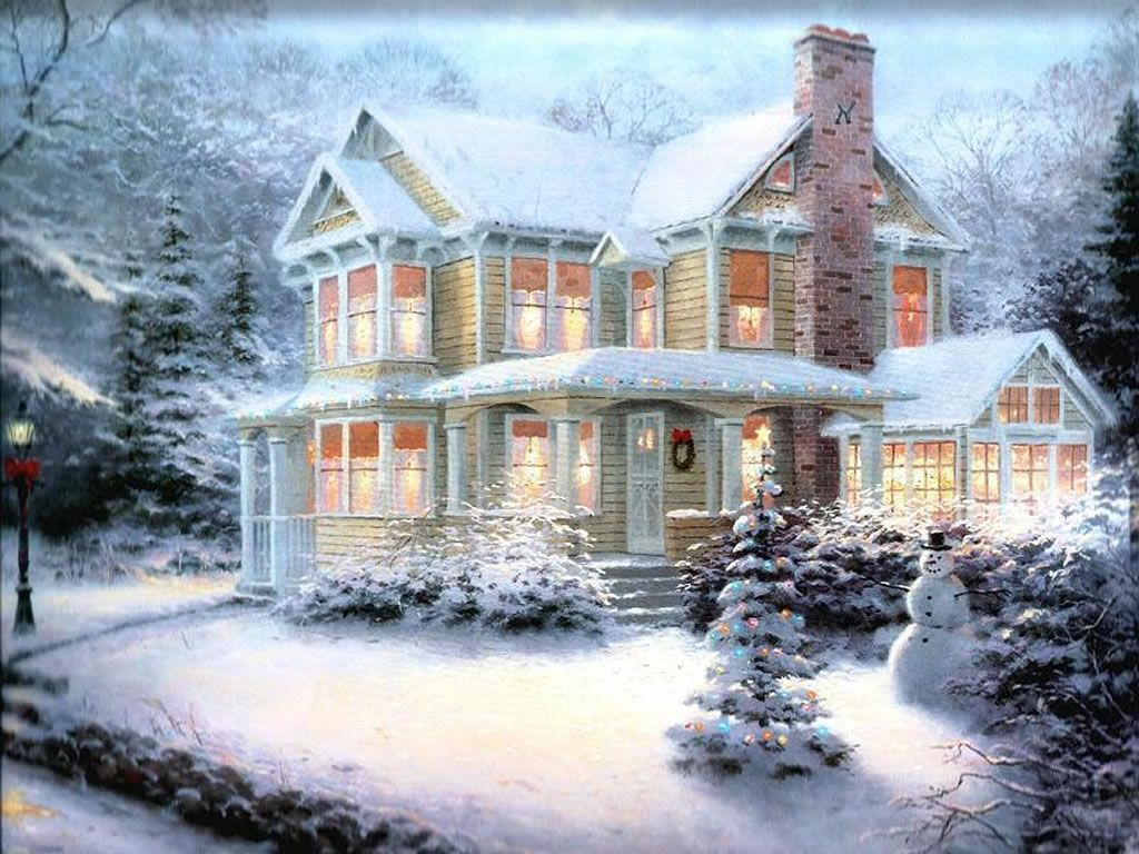 Christmas house with snow art - Winter Scenes Christmas Art 05